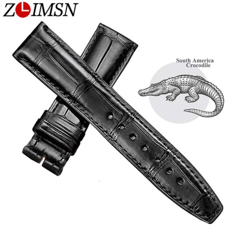 ZLIMSN Black Alligator Leather Watch Band Strap Men Women Luxury Crocodile Leather Watchband 12mm-26mm Can be Customized Size