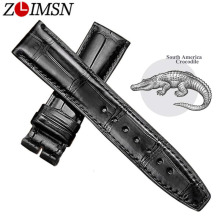 ZLIMSN Alligator Leather Watch Bands Strap Watches Accessories 20 22mm Black Brown Genuine Leather Watchbands Butterfly Buckle цена