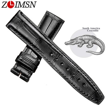 ZLIMSN Black Alligator Leather Watch Band Strap Men Women Luxury Crocodile Watchband 12mm-26mm Can be Customized Size