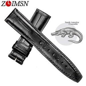 Image 1 - ZLIMSN correa de Reloj de piel de cocodrilo para hombre y mujer, correa de reloj de cuero de cocodrilo de lujo, 12mm 26mm, se puede personalizar el tamaño