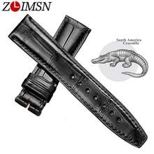 ZLIMSN שחור תנין עור להקת שעון רצועת גברים נשים יוקרה תנין עור רצועת השעון 12mm 26mm יכול להיות מותאם אישית גודל