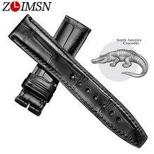 Zlimsn couro de crocodilo preto pulseira de relógio de couro pulseira de couro de crocodilo de luxo 12mm 26mm pode ser tamanho personalizado