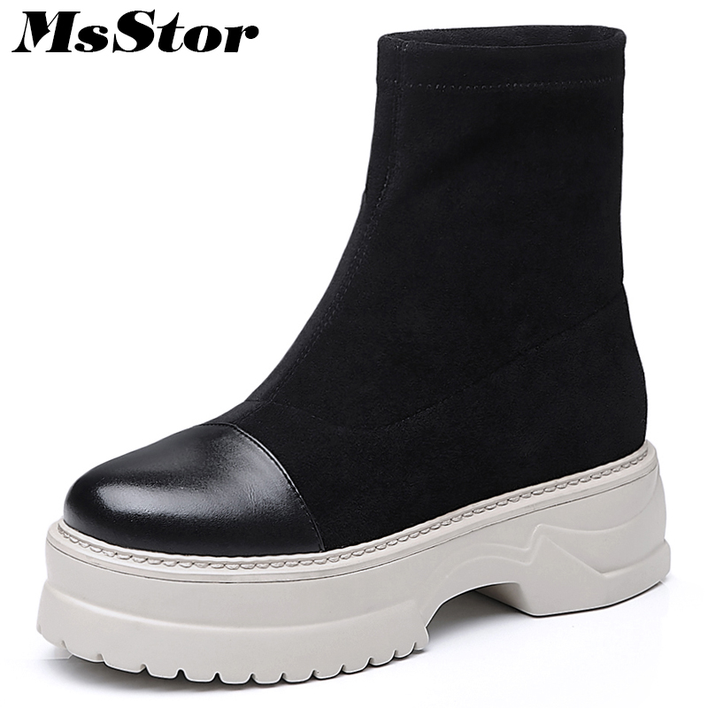 MsStor Women Boots Casual Fashion Round Toe Thick Bottom Ankle Boots Women Winter Shoes Platform Black Boots Shoes For Woman msstor women boots round toe wedges ankle boots women winter shoes thick bottom lace up short plush black boot shoes for woman
