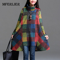 Winter Dress Plus Size Women Clothing Loose Casual Winter Dress Heap Turtleneck Irregular Plaid Thickening Cotton