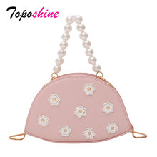 Toposhine Fashion Wanita Bunga Mutiara Tas Baru Fashion Shell Tas Kasual Liar Bahu Messenger Tas(China)