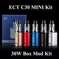 Cigarrillo electrónico kit ego cigarrillo vape cuadro mod ect c30 mini kit 30 w e pluma shisha hookah con ect reunió atomizador x1091