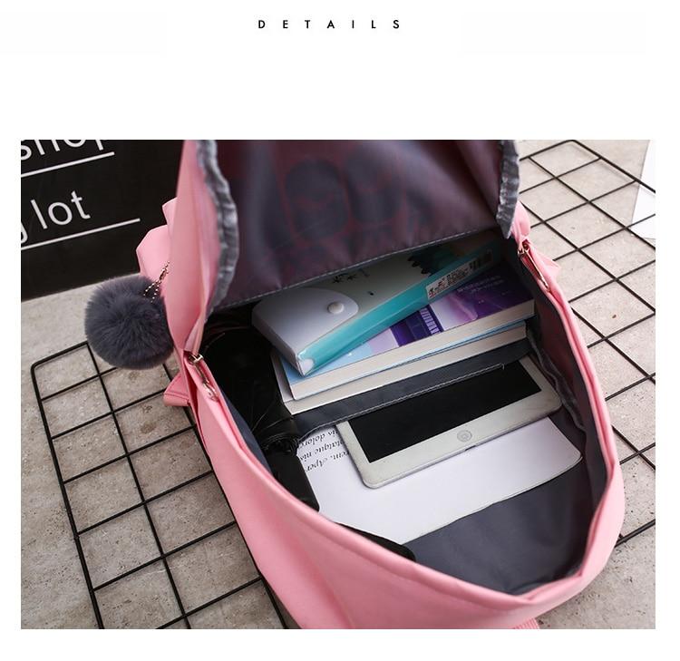 HTB1KzQaQgHqK1RjSZFPq6AwapXaz 4Pcs/set Women School Backpacks Nylon Schoolbag For Teenagers Girls Student Book Bag Boys Satchel Bolsas Mochilas Sac A Dos