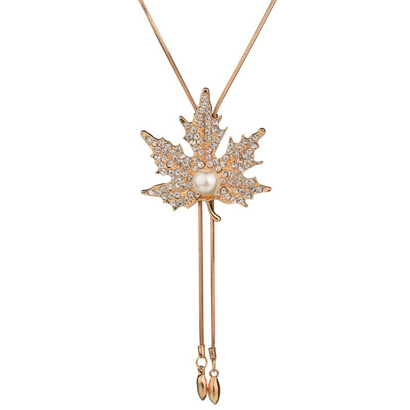 HOSEWYE Women Pearl Sweater Chain Necklace Design Rhinestones Crystal Maple Leaf Pendant Necklaces Jewelry Clothing Accessories