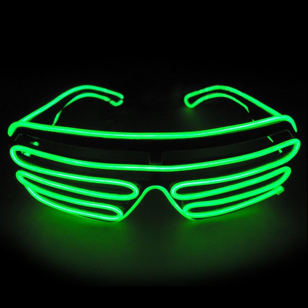 Умный светодиодный пульт дистанционного управления, стекло es, стекло EL Wire, модный неоновый светодиодный светильник в форме затвора, стекло es Rave DJ, яркие вечерние костюмы - Цвет: green