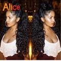 Alice 9A rizado Rizado Pelucas Delanteras Del Cordón Brasileño Rizado Peluca de Encaje Upart Peluca Brasileña Pelucas Llenas Del Cordón Con el Pelo Del Bebé Para Negro mujer