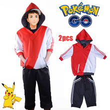 2pcs/set Adult Pocket Monster Trainer Red White Cross Hoodie Pikachu Hooded Jacket Sweater Pant Suit Pokemon Go Cosplay Costume