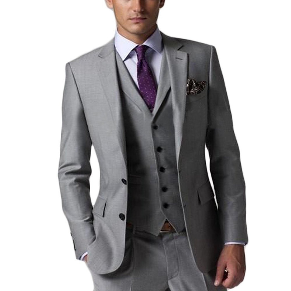 High Quality Slim Fit Groom Tuxedos Light Grey Side Slit Groomsmen ...