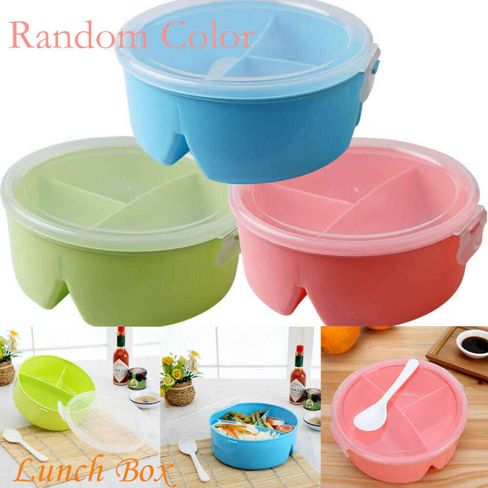 Portable Lunch Box Independent Lattice Wheat Straw Picnic Microwave Bento Food Storage Container New