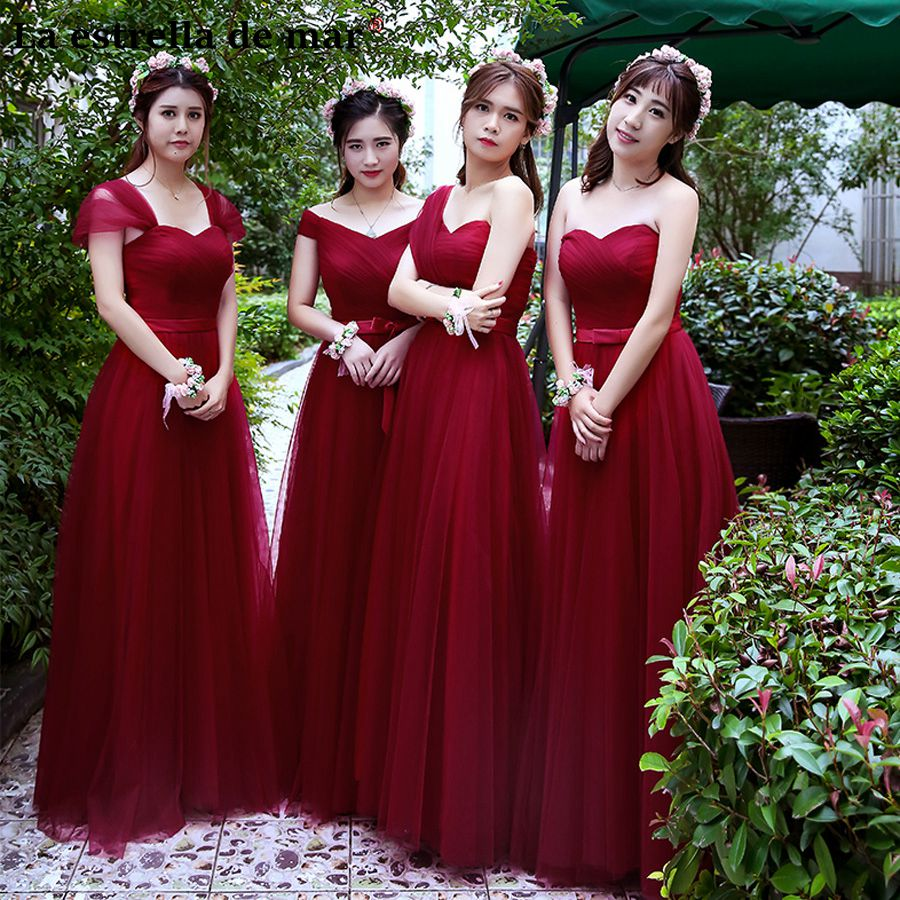 Robe de demoiselles d honneur pour mariage new sexy v neck cap sleeve A Line burgundy   bridesmaid     dresses   long cheap Junior   dress