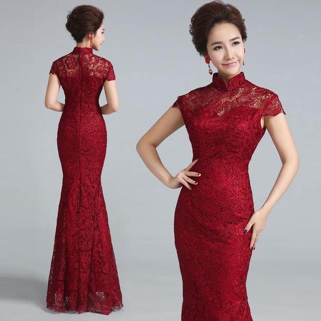 Wine Red Lace Wedding Cheongsam Modern Chinese Traditional Dress