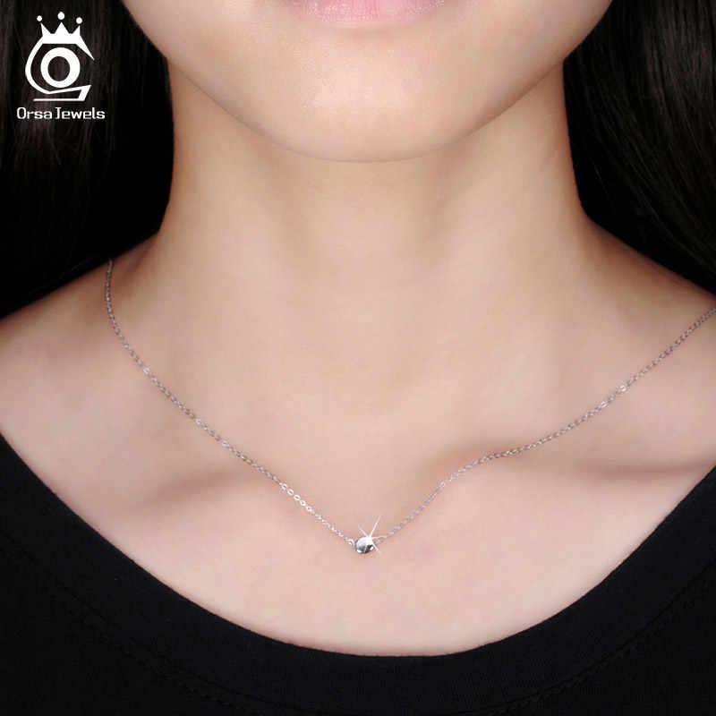 ORSA JEWELS модное 925 пробы серебро круглый кулон Цепочки и ожерелья s 44 см для Для женщин 2019 натуральная серебряное Драгоценное Ожерелье Подарок SN04