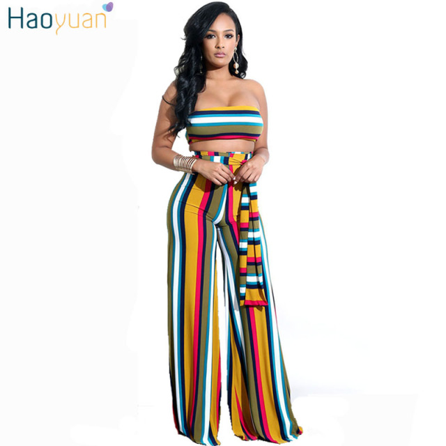 71b8adb045f18 US $21.69 30% OFF|HAOYUAN Two Piece Set Striped Sexy Jumpsuit Strapless  Sashes Wide Leg Pants Club Party Overalls Body Rompers Womens Jumpsuit -in  ...