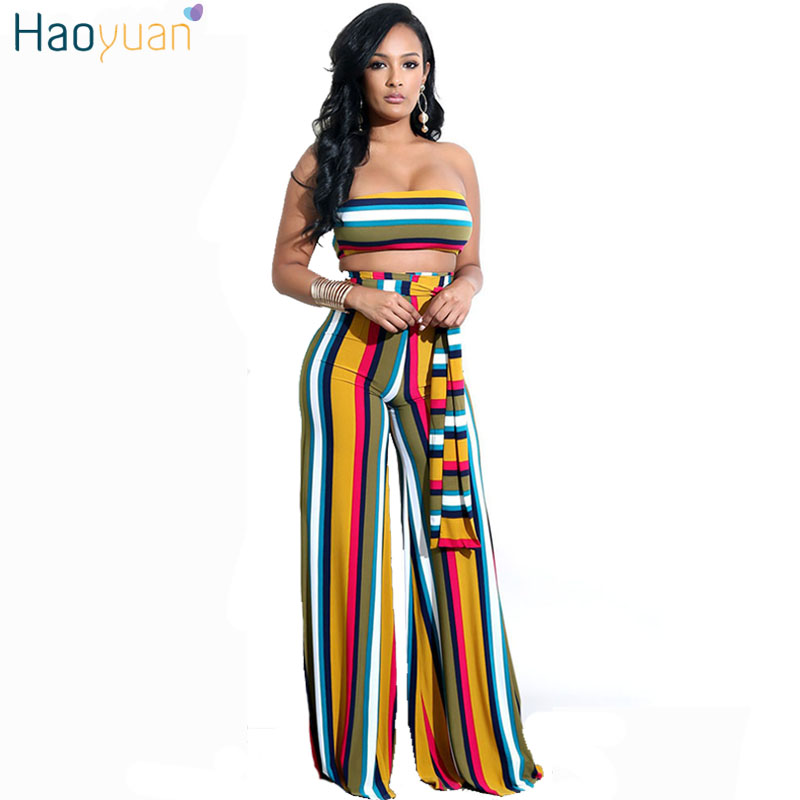 HAOYUAN Two Piece Set Striped Sexy   Jumpsuit   Strapless Sashes Wide Leg Pants Club Party Overalls Body Rompers Womens   Jumpsuit