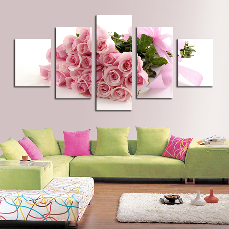 5 Piece Pink Roses Hd Picture Painting Modern Home Wall