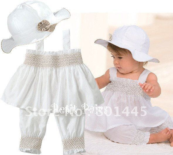 2012 summber baby suit girl suit sun-top + pants + hat suit 100% cotton for 6M~4Y free shipping wholesale drop shipping