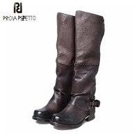 Prova Perfetto кожа высококачественные ботфорты для Для женщин матч Цвет зима пряжки ремня боковой молнией длинные сапоги для верховой езды
