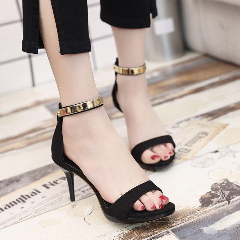 Moda rosado Tacones Sandalias Concise azul S168 Mujer 2017 Strap Toe Negro Mujeres Open Tobillo Zapatos Verano Altos Sequined Vestido nnBYqwxUz