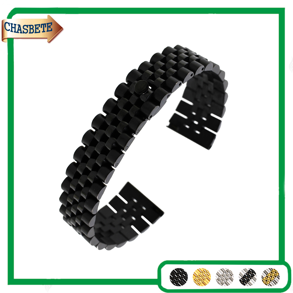 Stainless Steel Watch Band for Breitling 18mm 20mm 22mm Men Women Metal Strap Belt Wrist Loop Bracelet Black Silver + Pin + Tool stainless steel watch band 24mm for sony smartwatch 2 sw2 pin clasp strap wrist loop belt bracelet black silver spring bar
