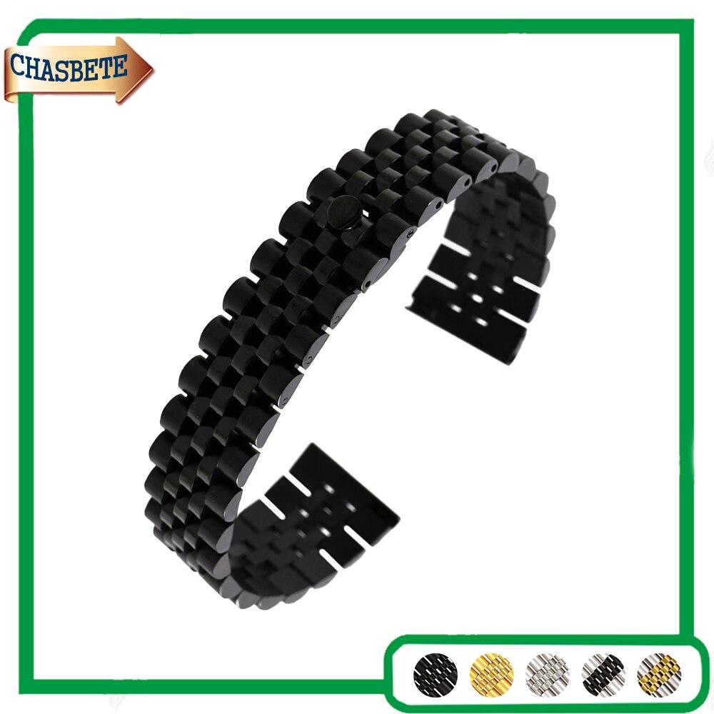 Stainless Steel Watch Band for Breitling 18mm 20mm 22mm Men Women Metal Strap Belt Wrist Loop Bracelet Black Silver + Pin + Tool