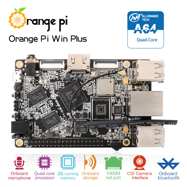 Orange Pi Win Plus A64 Quad-core 2GB WIFI Development Board Support linux  and android  Wholesale is available