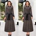 De alta qualidade da marca de lã cashmere engrossar Clássico Cáqui mulheres Trench Coat inverno quente à prova de vento X-Longo Casaco Moda W025