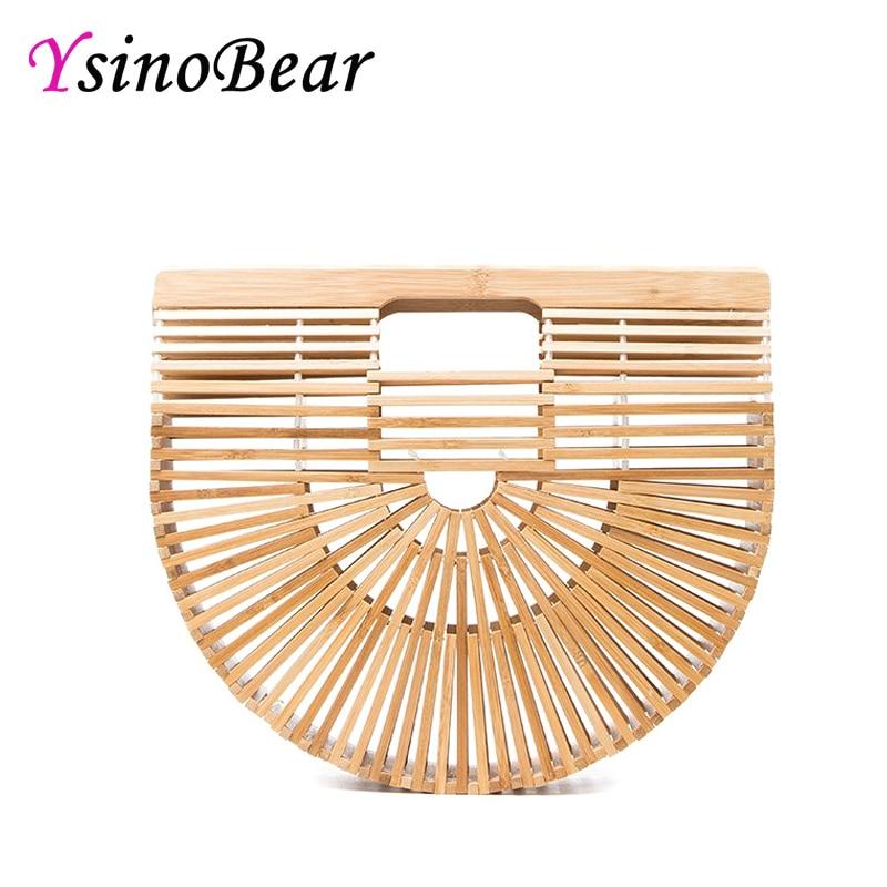 YsinoBear Hollow Out Bag Women Bamboo Handbags Top Handle Bags Female Causal Totes Clutch Handmade Beach Bags Half Moon Wood Bag цена