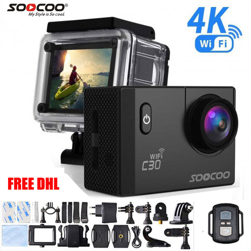 5pcs Free DHL Action Camera SOOCOO C30 C30R Remote Ultra FHD 4K WiFi 1080P 2.0 LCD 170D Sport Go Waterproof Pro camera deportiva 2017 arrival original eken action camera h9 h9r 4k sport camera with remote hd wifi 1080p 30fps go waterproof pro actoin cam