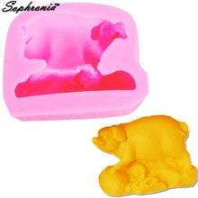 Sophronia M497 силиконовая форма для мыла со Свинкой из мультфильма, форма для свечей из смолы, форма для конфет, шоколада, Gumpaste, инструменты для торта, 6,9*5,2*2,6 см