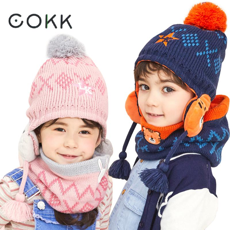 COKK Winter Hat And Scarf Set For Girls High Quality Knitted Cap Kids Hat Ear Flaps Thick Warm Boy Children Hat Set With Pompom