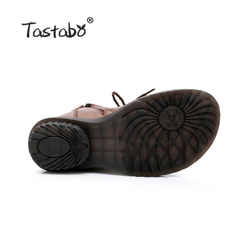 Tastabo Sonbahar Çizmeler yarım çizmeler El Yapımı kadın düz ayakkabı Rahat Sıcak Kadın ayakkabı Bayanlar Kış Çizmeler Kadınlar için