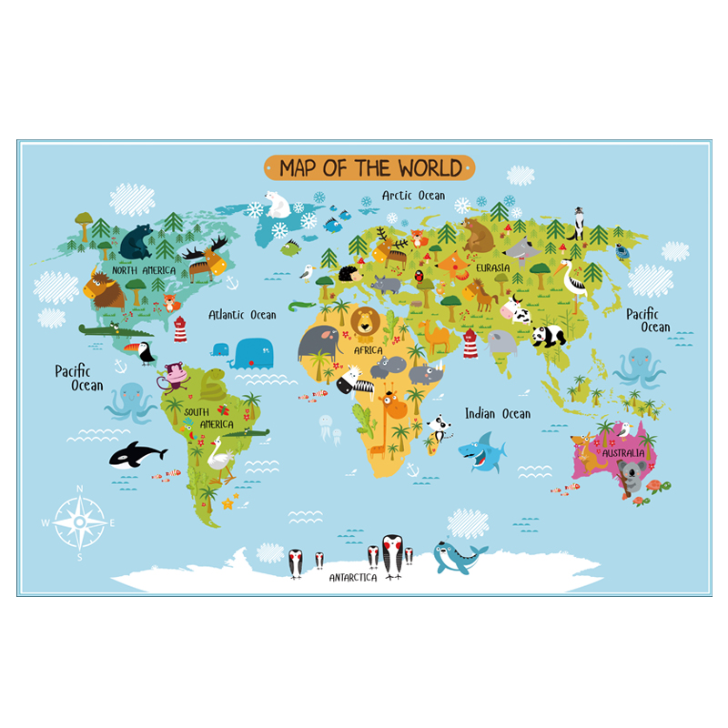 Carton World Map Poster Size Wall Decoration Large Map Of The World 80x52 Waterproof Canvas Map Children's Bedroom Decoration