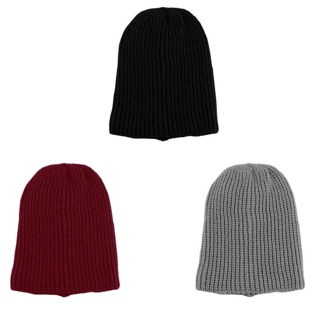 9377f1c71fb ... Men Knit Beanie Hat Baggy Long Slouchy Winter Warm Skull Caps Hats Black Red   ...