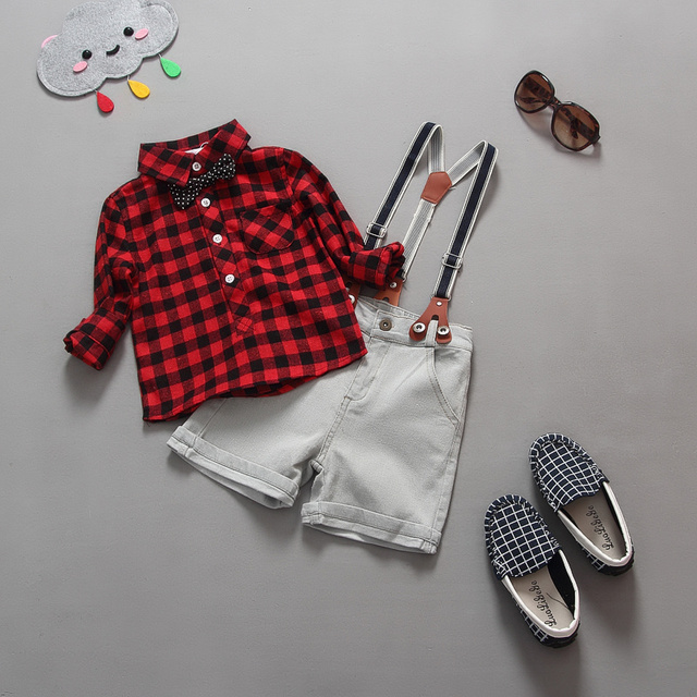 Hot sale! 2016 spring and autumn style baby boy suit red and white Plaid Shirt+suspender short trousers sports set for kids