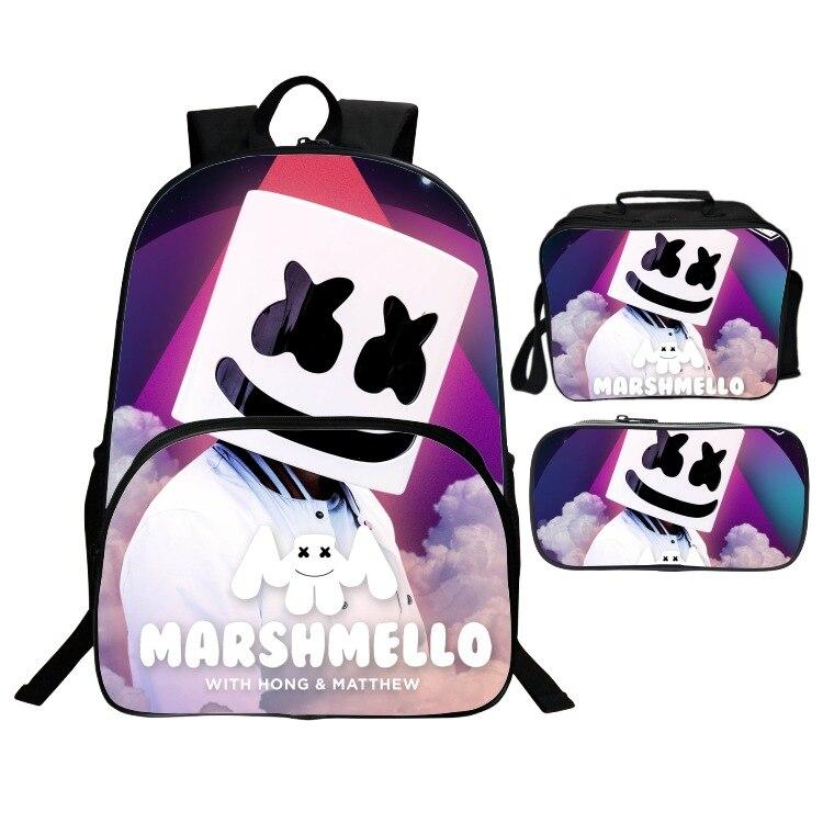 3d Printing Marshmello Bag School Bags For Boys Girls Student Children School Backpack Satchel Kids Book Bag Mochila 16 Inch