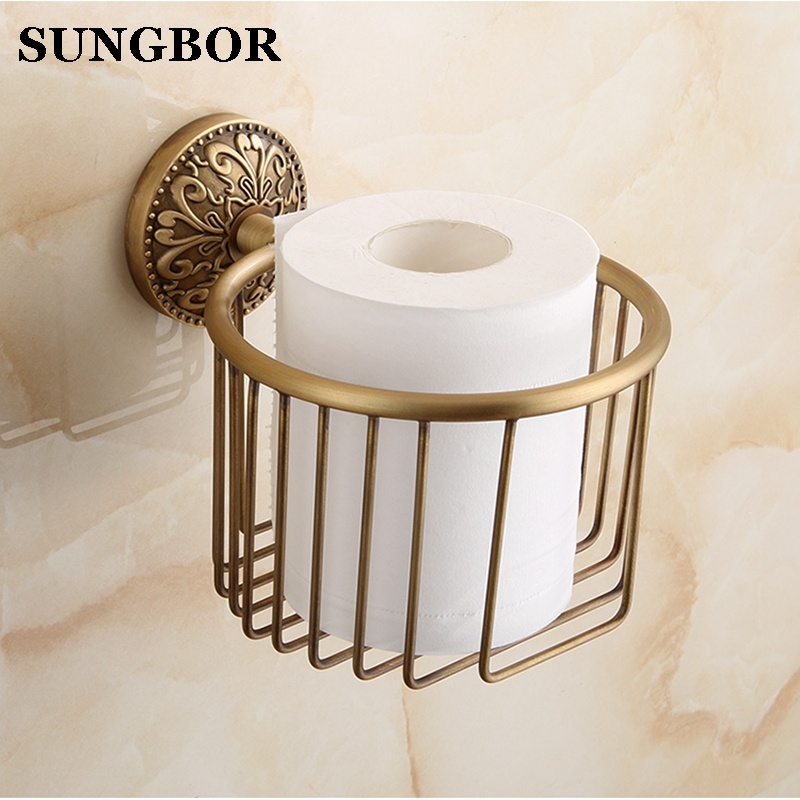 European Art Antique Brass Bathroom Toilet Paper Tissue Holder Wall Mounted Storage Rack Holder With Screw Bathroom Hardware 810 luxury antique brass paper rack bathroom paper holder european toilet paper box toilet accessories wall mounted