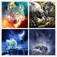 5d diy diamond painting star wolf animal full round mosaic cross stitch embroidery