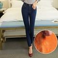 Alpaca Cashmere Ultra-suave Quente Lã Inverno Mulheres Calça Jeans Stretch Elásticas Calça Jeans de Cintura Alta Engrossar Calças Skinny Mais tamanho