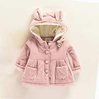 JN650 Toddler Baby Girl Spring Winter Cute Rabbit 3D Ears Thicken Keep Warm Hooded Coat Fur