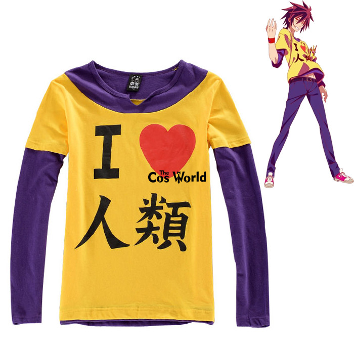 NO GAME NO LIFE Imanity Sora Short Long Sleeve T-shirt Tops Pants Outfit Anime Cosplay Costumes