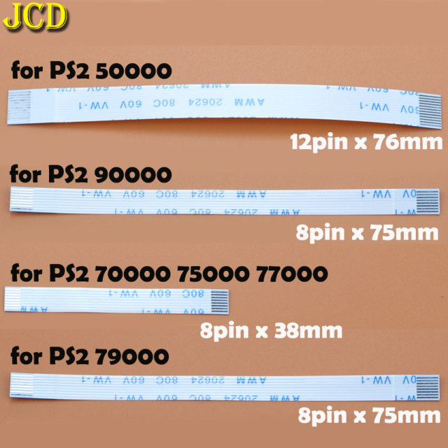 JCD 2pcs 7pin 8pin 12pin Ribbon Flex Cable for Sony playstation 2 PS2 Controller Charging PCB Board and Power switch Flex Cable