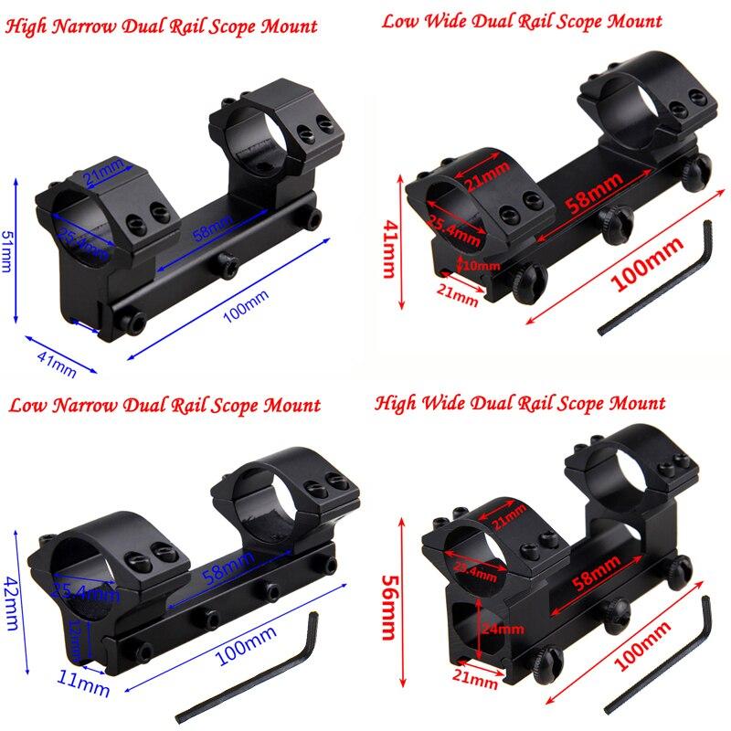 Double Rail haut bas large étroit anneau portée tactique monture en queue d'aronde fusil optique vue support portée adaptateur de montage + avec Hex Wren
