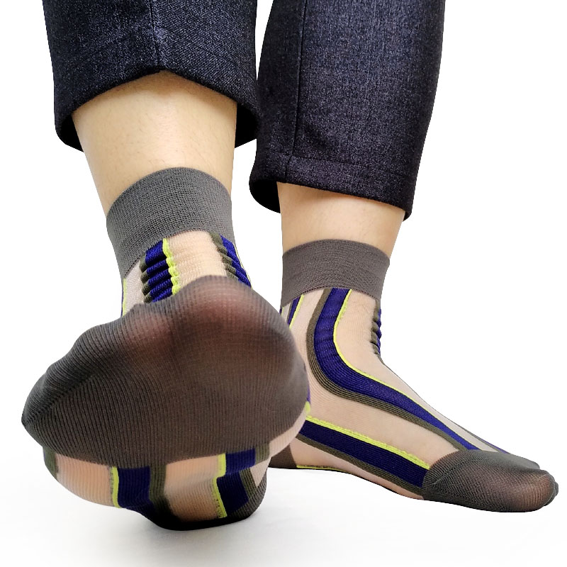 Summer Sheer Cotton Striped Mens Formal Socks See Through Sexy Male Gay Dress Stocking old School Style Men