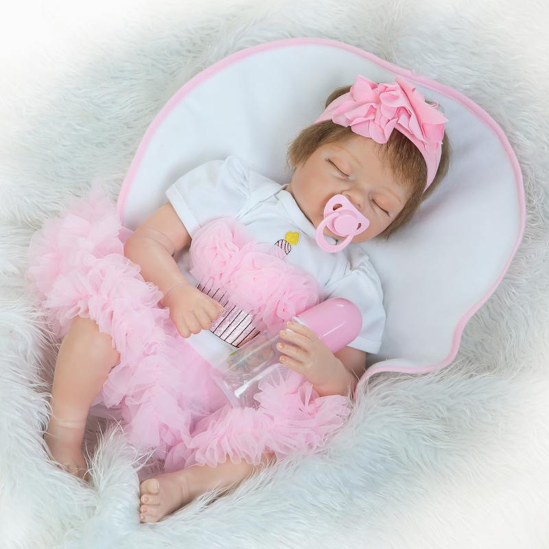 55CM Silicone Baby Reborn Dolls Girls Play House Toys Lifelike Sleeping Baby Alive Doll Playmates Children Birthday Gifts55CM Silicone Baby Reborn Dolls Girls Play House Toys Lifelike Sleeping Baby Alive Doll Playmates Children Birthday Gifts