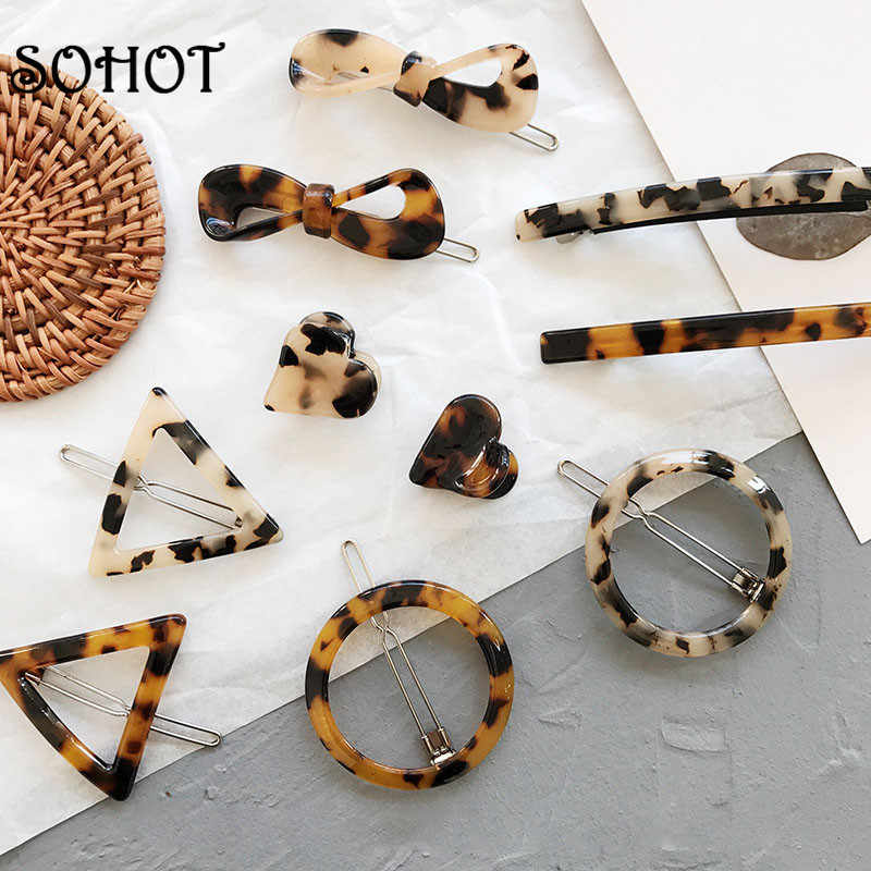 SOHOT New Hot Sale Acetic Acid Tortoiseshell Women Hairwear Acrylic Heart Minimalist Hair Clips OL Trendy Hair Gift