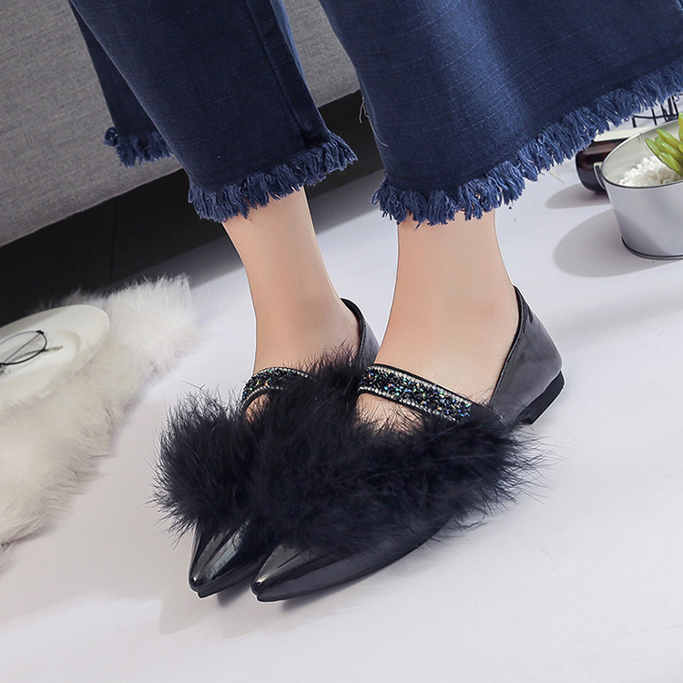 women shoes 2017 Autumn Winter New Mary Jane Shoes All-match Sexy Pointed Flat Mouth Shoes